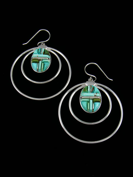 Navajo Natural Royston Turquoise Cornrow Inlay Dangle Earrings