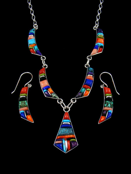 Navajo Sterling Silver Cobble Stone Turquoise and Coral Inlay Necklace Earrings Set