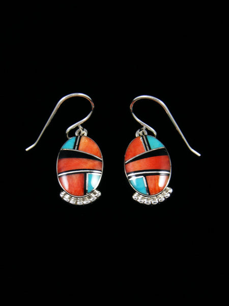 Native American Sterling Silver Spiny Oyster Inlay Earrings