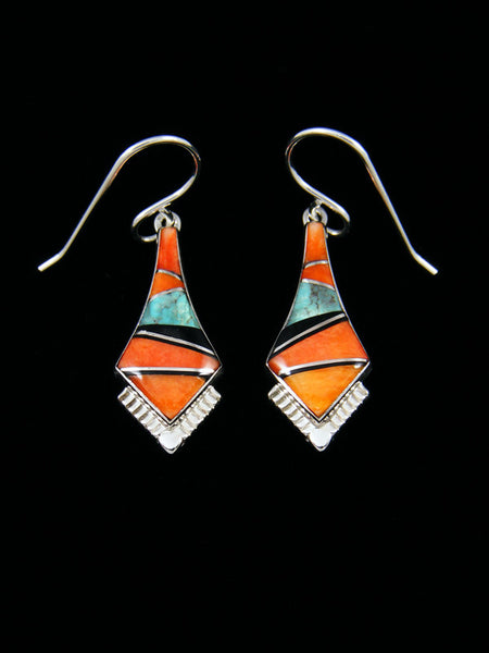 Native American Sterling Silver Turquoise and Spiny Oyster Inlay Dangle Earrings