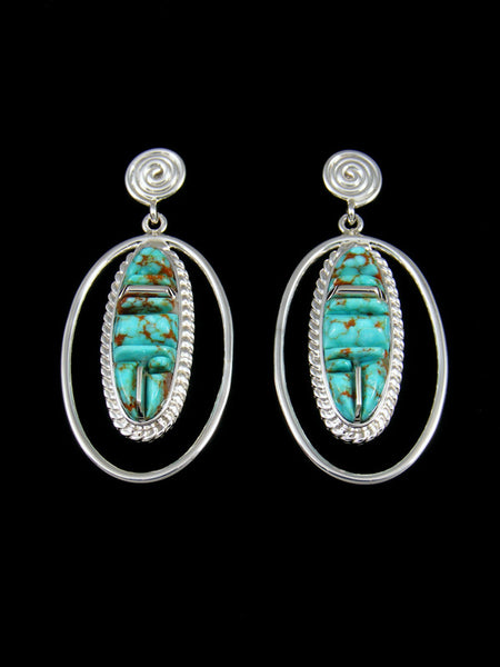 Navajo #8 Turquoise Cornrow Inlay Dangle Earrings