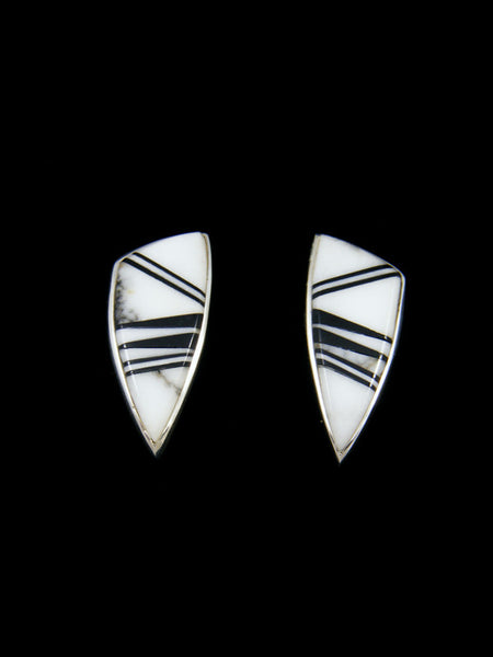 Navajo White Buffalo and Onyx Inlay Post Earrings