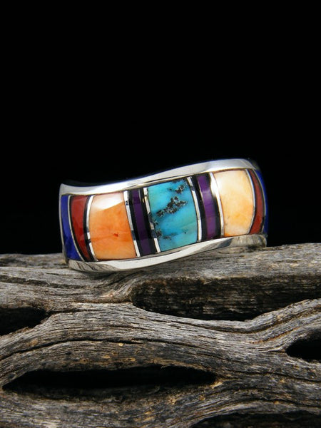 Spiny Oyster, Sugilite, and Turquoise Inlay Ring, Size 9 1/2