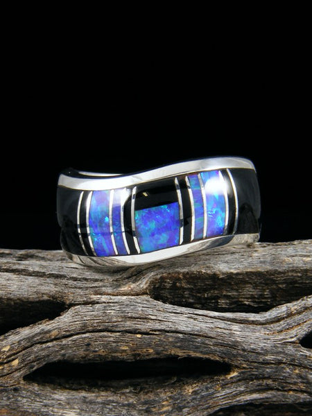 Onyx and Opal Inlay Ring, Size 9 1/2