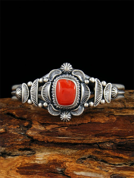 Native American Natural Coral Cuff Bracelet
