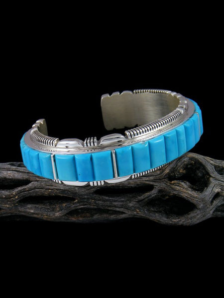 Native American Sterling Silver Sleeping Beauty Turquoise Cornrow Bracelet