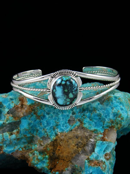 Native American Indian Jewelry Sterling Silver Cloud Mountain Turquoise Bracelet