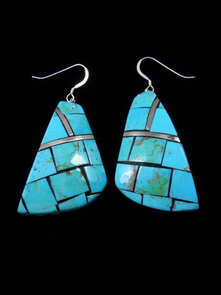 Turquoise and Mother of Pearl Santo Domingo Inlay Shell Earrings