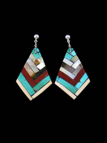 Santo Domingo Inlay Turquoise and Mother of Pearl Post Earrings