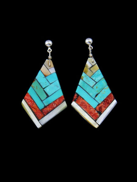 Santo Domingo Inlay Turquoise and Apple Coral Post Earrings