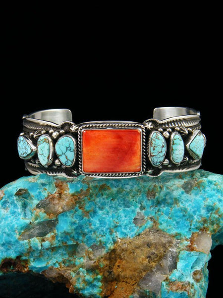 Native American Sterling Silver Spiny Oyster and #8 Turquoise Cuff Bracelet