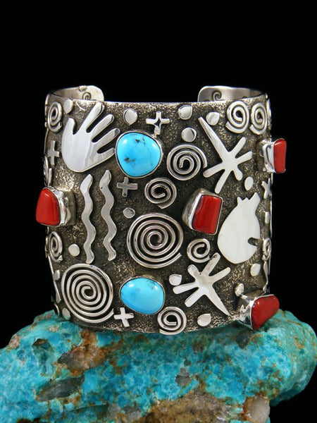 Navajo Sterling Silver Turquoise and Coral Petroglyph Cuff Bracelet