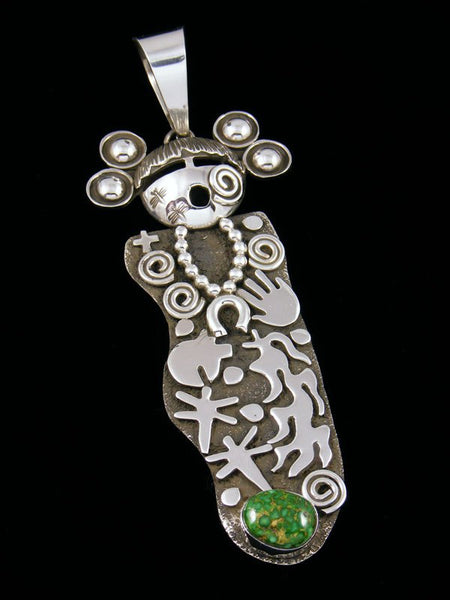 Navajo Sterling Silver Sonoran Gold Turquoise Petroglyph Maiden Pendant