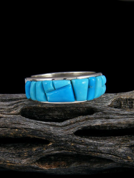 Turquoise Cobblestone Inlay Ring, Size 10 1/2