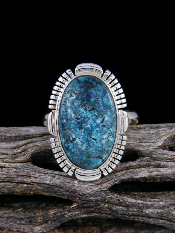 Native American Cloud Mountain Turquoise Ring, Size 8