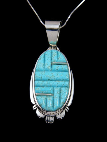Navajo Cornrow Inlay Turquoise Sterling Silver Pendant