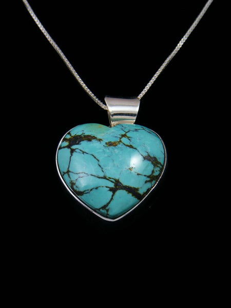 Native American Sterling Silver Cloud Mountain Turquoise Heart Pendant