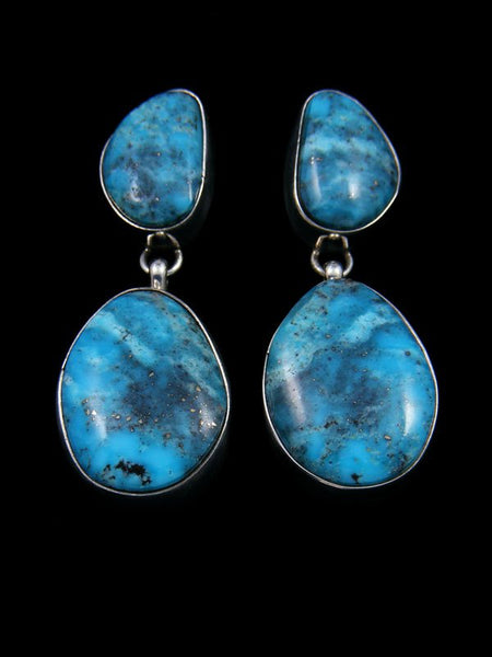 Bright Blue Turquoise Sterling Silver Post Earrings