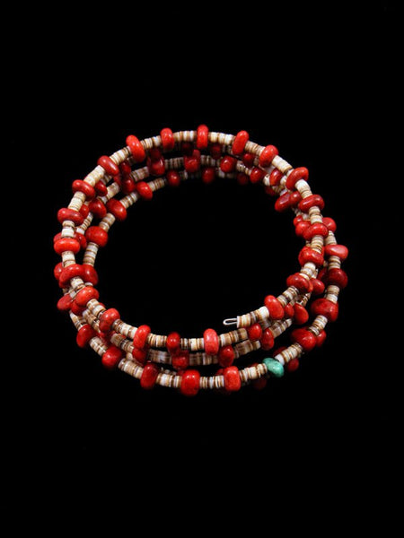 Native American Turquoise and Coral Bead Wrap Bracelet