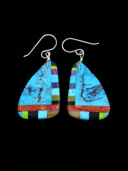 Santo Domingo Gaspeite Mosaic Inlay Dangle Earrings