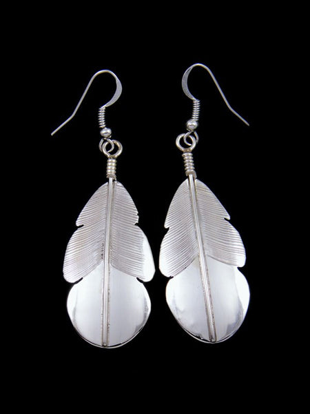 Navajo Sterling Silver Feather Dangle Earrings