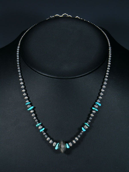 Native American Sterling Silver Liberty Head Dime Turquoise Bead Necklace