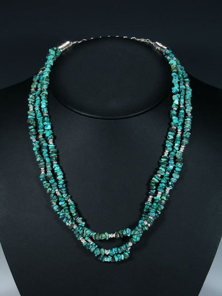 Native American Multi Strand Turquoise Bead Necklace