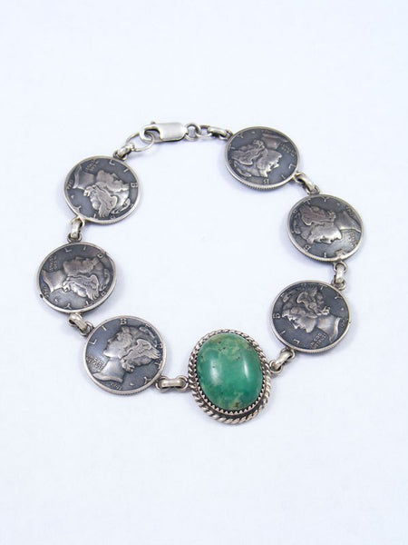 Navajo Liberty Head Dime and Turquoise Link Bracelet