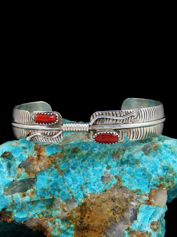 Navajo Sterling Silver Coral Feather Bracelet