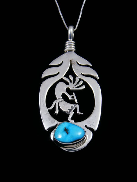 Native American Sleeping Beauty Turquoise Kokopelli Feather Pendant