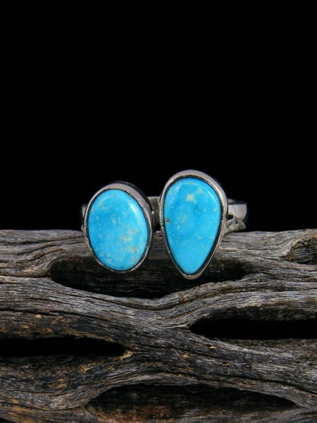 Adjustable Kingman Turquoise Ring, Size 7-8
