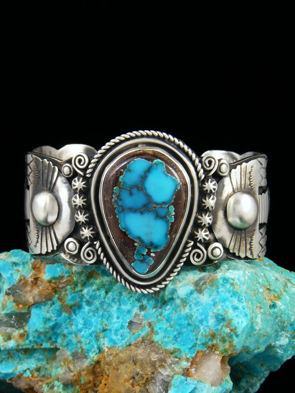 Navajo Indian Thunderbird Pilot Mountain Turquoise Cuff Bracelet