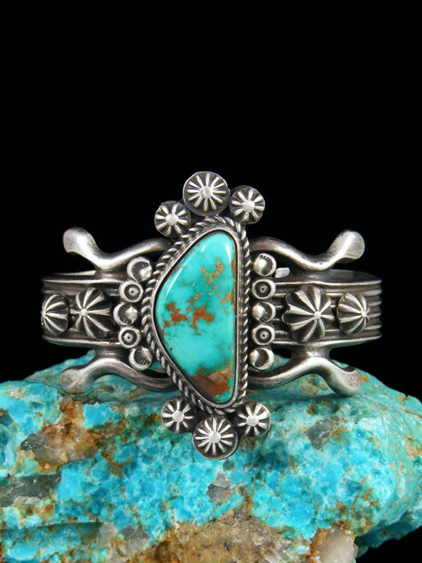 Native American Sterling Silver Sandcast Royston Turquoise Bracelet