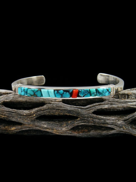 Native American Turquoise and Coral Inlay Cuff Bracelet