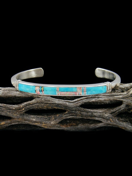 Native American Turquoise and Opal Inlay Cuff Bracelet