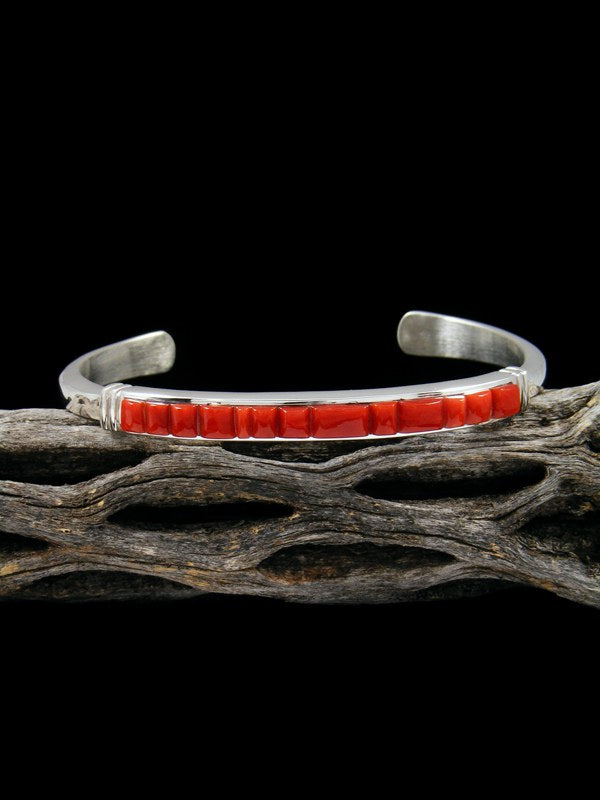 Native American Natural Coral Inlay Cuff Bracelet
