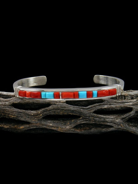 Native American Natural Coral and Turquoise Inlay Cuff Bracelet