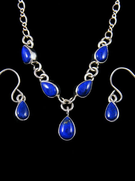 Native American Blue Lapis Inlay Necklace and Earrings Set
