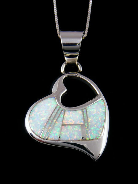 Native American Opalite Inlay Heart Pendant