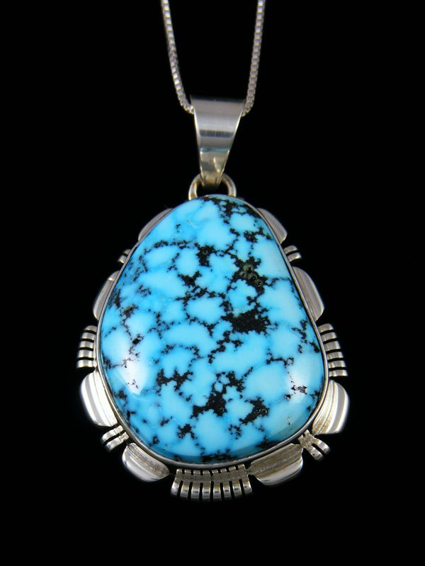 Native American Sterling Silver Natural Kingman Turquoise Pendant