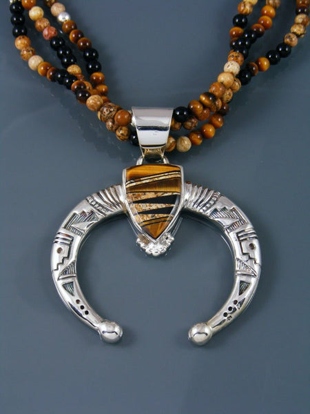Tiger Eye and Onyx Inlay Navajo Sterling Silver Naja Pendant With Beads