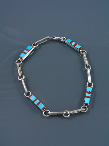 Native American Zuni Turquoise and Coral Inlay Link Bracelet