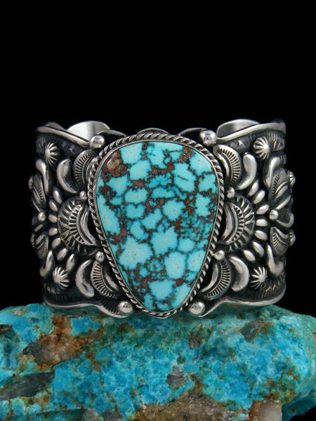 Native American Indian Sterling Silver Kingman Turquoise Cuff Bracelet
