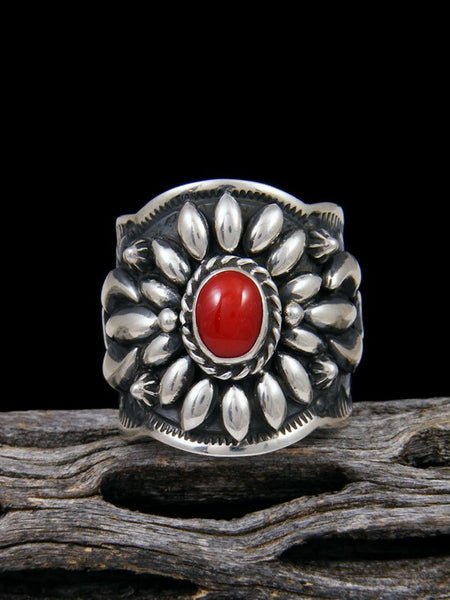Coral Repousse Men's Ring, Size 10 1/2