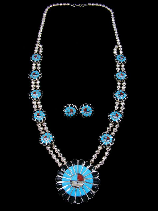 Native American Zuni Inlay Turquoise Sunface Necklace Set