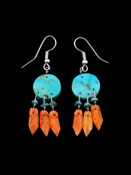 Spiny Oyster and Turquoise Dreamcatcher Earrings