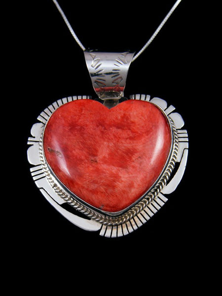 Native American Sterling Silver Spiny Oyster Heart Pendant