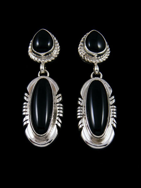 Navajo Sterling Silver Onyx Post Earrings