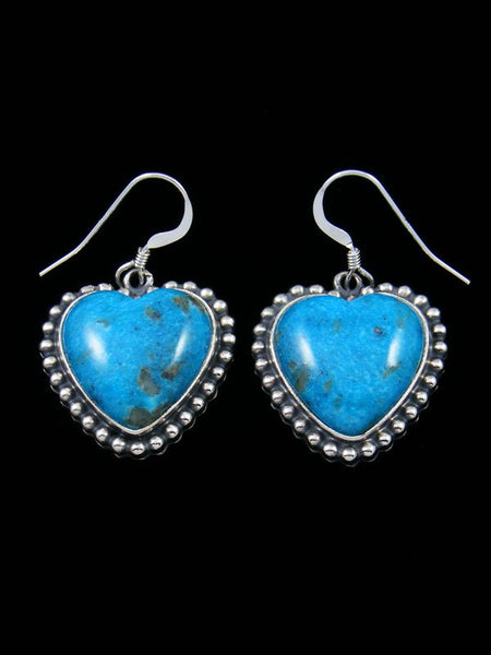 Navajo Turquoise Sterling Silver Heart Earrings