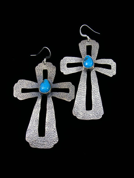Navajo Jewelry Etched Sterling Turquoise Dangle Earrings